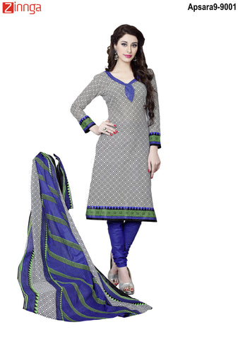 MINU FASHION- Women's Beautiful Multi Color Cotton Un Stitched Salwar Kameez-Apsara9-9001