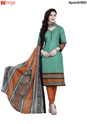 MINU FASHION- Women's Beautiful  Green Color Cotton Un Stitched Salwar Kameez-Apsara9-9003