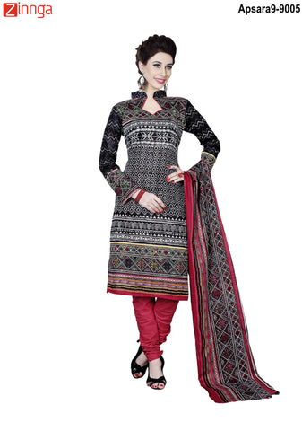 MINU FASHION- Women's Beautiful Black Color Cotton Un Stitched Salwar Kameez-Apsara9-9005