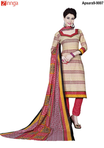 MINU FASHION- Women's Beautiful  Beige Color Cotton Un Stitched Salwar Kameez-Apsara9-9007