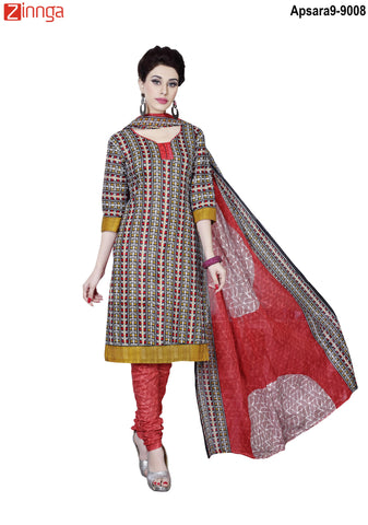 MINU FASHION- Women's Beautiful Multi Color Cotton Un Stitched Salwar Kameez-Apsara9-9008