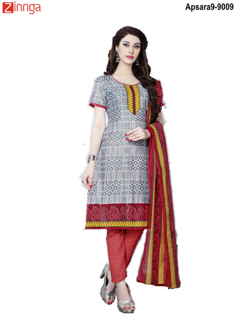 MINU FASHION- Women's Beautiful Silver Color Cotton Un Stitched Salwar Kameez-Apsara9-9009