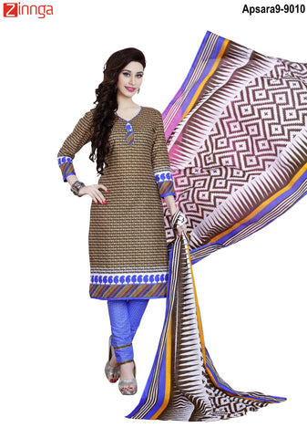 MINU FASHION- Women's Beautiful  Brown Color Cotton Un Stitched Salwar Kameez-Apsara9-9010