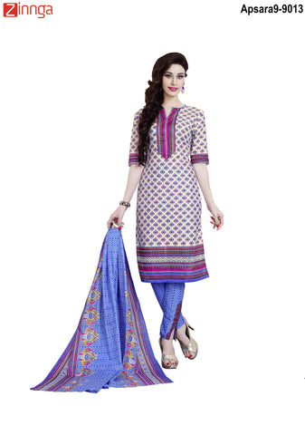 MINU FASHION- Women's Beautiful  Beige Color Cotton Un Stitched Salwar Kameez-Apsara9-9013