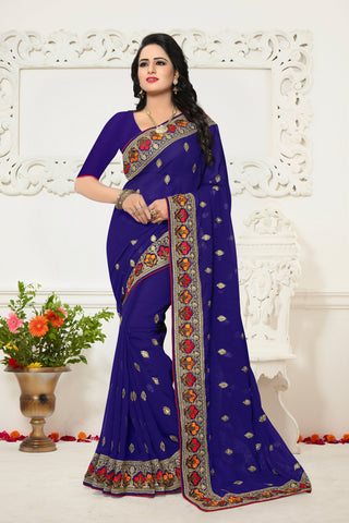 Blue Color Georgette Saree - Ardhangini-D.NO-1338