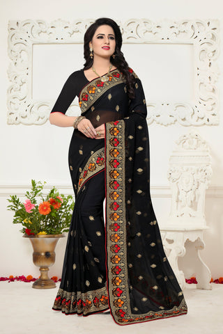 Black Color Georgette Saree - Ardhangini-D.NO-1340