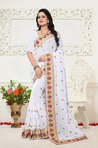White Color Georgette Saree - Ardhangini-D.NO-1341