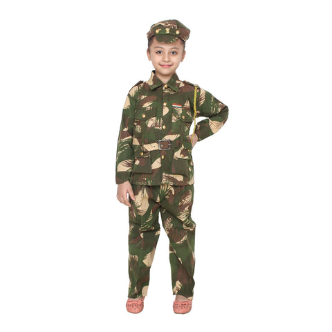 Multi Color Cotton Blend Fancy Costume Dress  - Army-1