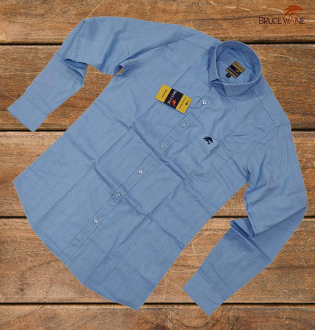 SkyBlue Color Pure Cotton Men Shirt - B-3