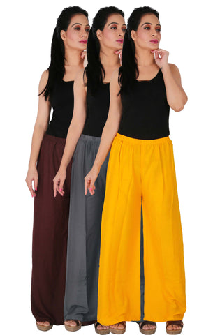 Pack Of 3 Rayon Palazzos - B2G1Y