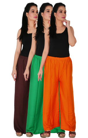 Pack Of 3 Rayon Palazzos - B2GO