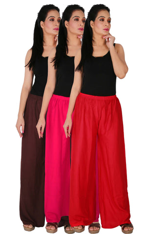 Pack Of 3 Rayon Palazzos - B2M1R