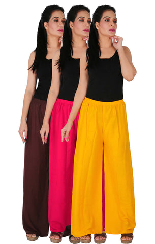 Pack Of 3 Rayon Palazzos - B2M1Y