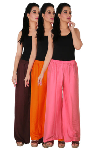 Pack Of 3 Rayon Palazzos - B2OP2