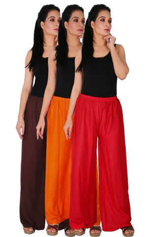 Pack Of 3 Rayon Palazzos - B2OR