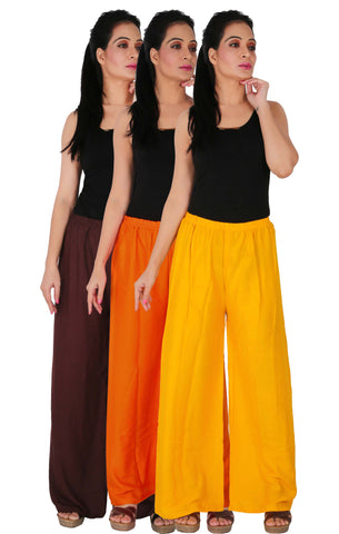 Pack Of 3 Rayon Palazzos - B2OY