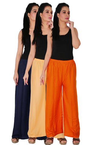 Pack Of 3 Rayon Palazzos - B3CO