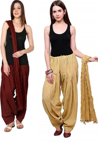 COMBOS - Baigemrn Color Cotton Stitched Women Patiala Pants With Dupata - Baigemrn