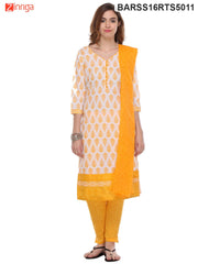 White and Yellow Color Cotton Dress Material