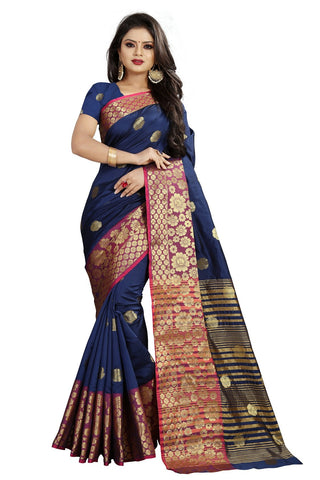 Navy Blue Color Banarasi Cotton Silk Weaving Saree - BBC113B