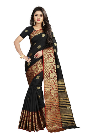 Black Color Banarasi Cotton Silk Weaving Saree - BBC113D