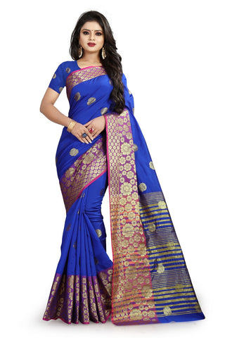 Blue Color Banarasi Cotton Silk Weaving Saree - BBC113F