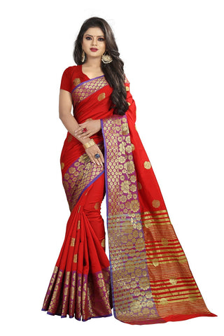 Red Color Banarasi Cotton Silk Weaving Saree - BBC113G