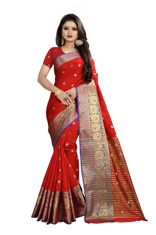 Red Color Banarasi Cotton Silk Weaving Saree - BBC114A
