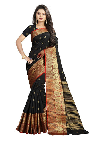 Black Color Banarasi Cotton Silk Weaving Saree - BBC114C