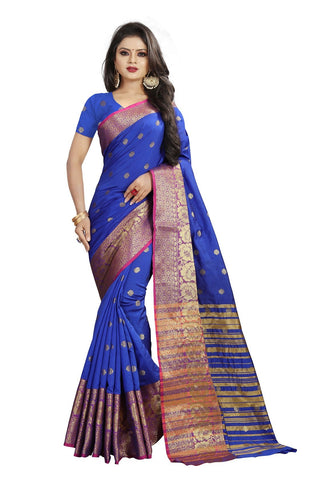 Blue Color Banarasi Cotton Silk Weaving Saree - BBC114E
