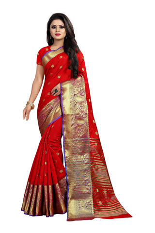Red Color Banarasi Cotton Silk Weaving Saree - BBC115A