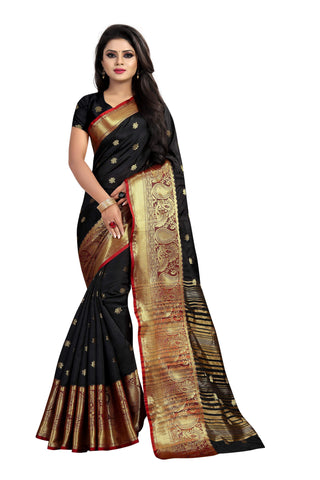 Black Color Banarasi Cotton Silk Weaving Saree - BBC115C