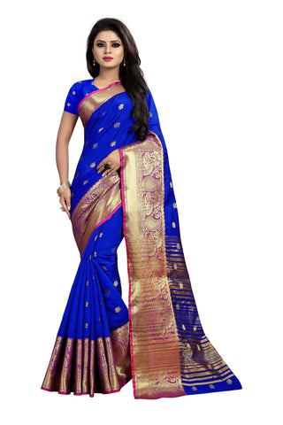 Blue Color Banarasi Cotton Silk Weaving Saree - BBC115E
