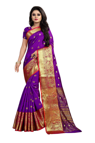 Purple Color Banarasi Cotton Silk Weaving Saree - BBC115G