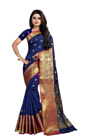 Navy Blue Color Banarasi Cotton Silk Weaving Saree - BBC115I
