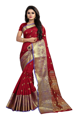 Maroon Color Banarasi Cotton Silk Weaving Saree - BBC115J