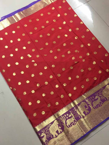 Red Color Banarasi Cotton Silk Weaving Saree - BBC116A