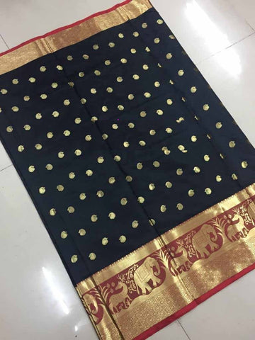 Black Color Banarasi Cotton Silk Weaving Saree - BBC116C