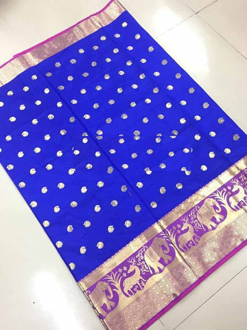 Blue Color Banarasi Cotton Silk Weaving Saree - BBC116E