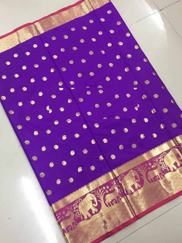 Purple Color Banarasi Cotton Silk Weaving Saree - BBC116G