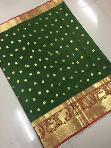 Dark Green Color Banarasi Cotton Silk Weaving Saree - BBC116H