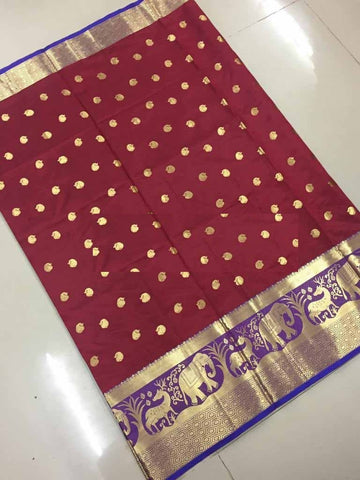 Maroon Color Banarasi Cotton Silk Weaving Saree - BBC116J