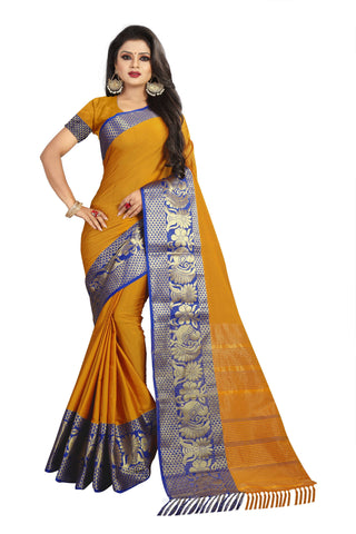 Yellow Color Aura Soft Cotton Saree - BBC117B