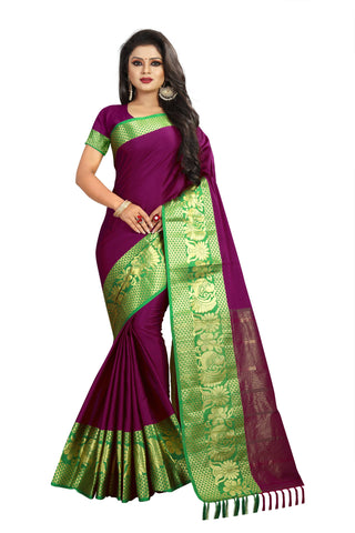 Purple Color Aura Soft Cotton Saree - BBC117D
