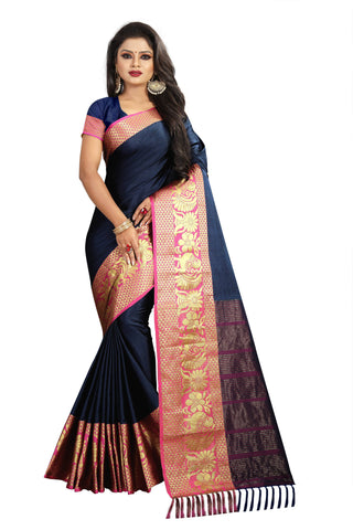 NavyBlue Color Aura Soft Cotton Saree - BBC117F