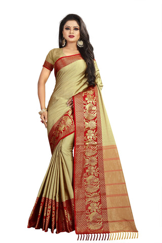 Beige Color Aura Soft Cotton Saree - BBC117G