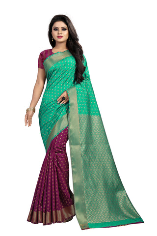 Green and Purple Color Banarasi Silk Haff-Haff  Saree - BBC118AA