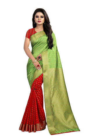 Green and Red Color Banarasi Silk Haff-Haff  Saree - BBC118BB