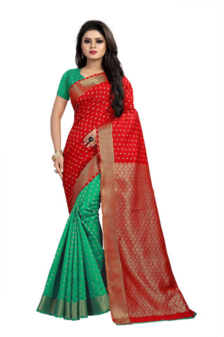 Red and Green Color Banarasi Silk Haff-Haff  Saree - BBC118EE
