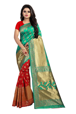 Red and Green Color Banarasi Silk Rich Pallu Saree - BBC119A